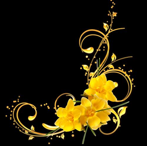 coins avec fleurs pour cadres