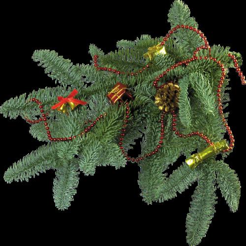 Branche De Decoration: Branche De Sapin Décorée
